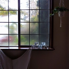 #surreal #foggy #morning #bedroom #window #butterflychair #hangingplant #winecountryrental