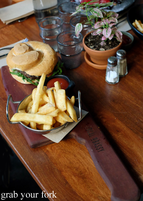 Double baked wagyu beef burger with chips at The Local Mbassy, Ultimo