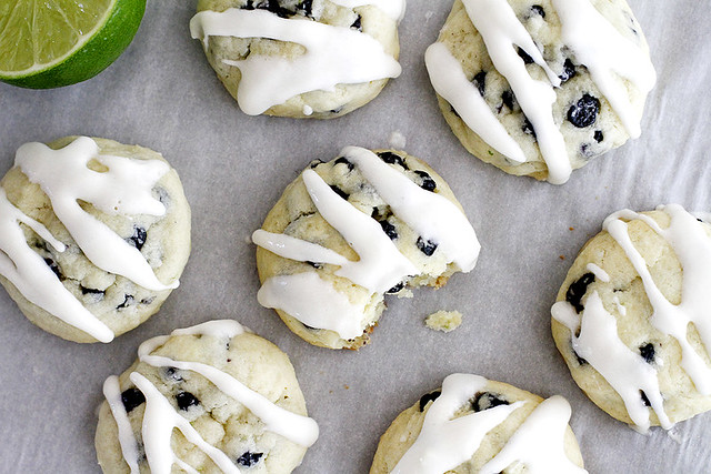 Blueberry Lime Cream Cheese Cookies | girlversusdough.com @girlversusdough #blueberry #lime #creamcheese #cookies #baking #dessert