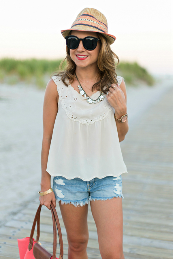 Loren Hope Jewels + Scalloped Top + 7FAM Denim