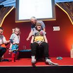 David Roberts & Alan MacDonald | Dirty Bertie fun with a young Book Festival audience © Alan McCredie