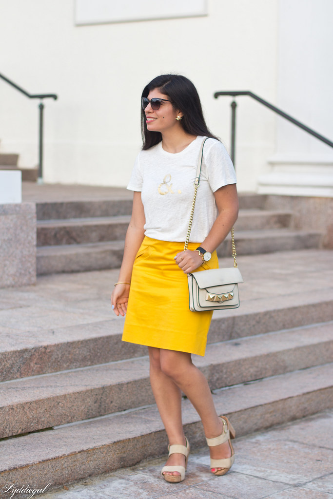 ampersand tee, yellow pencil skirt, studded bag.jpg