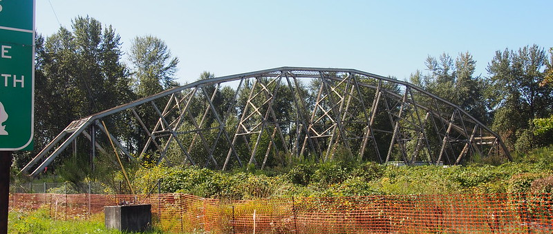 Old Puyallup River Bridge: This bridge originally carried SR-167 across the Puyallup River.  As it was rather narrow and in poor condition, it was in need of replacement.  To do so, WSDOT simply moved the old bridge out of the way while building the new one.