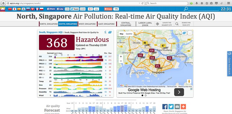 South, Singapore Air Pollution: Real-time Air Quality Index (AQI) - 368 (hazardous) at 22:00 Thursday 24 September 2015