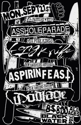 9/21/15 AssholeParade/LongKnife/AspirinFeast/Dodlage