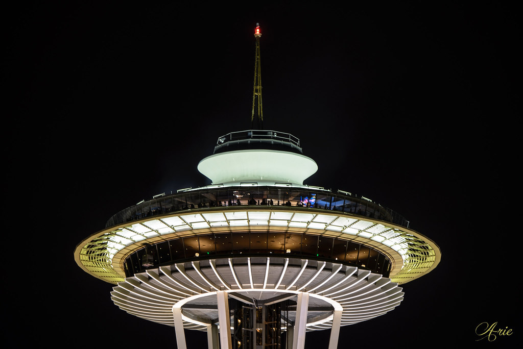 Space Needle at night up close and personal