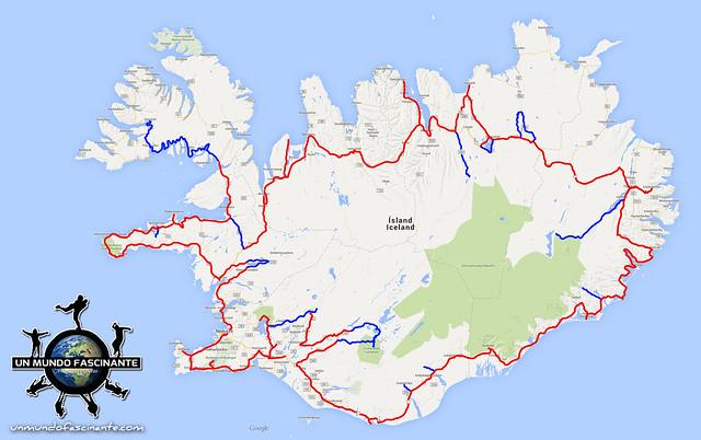 Mapa de recorrido por Islandia, 12 días. Roadtrip. Iceland. Ísland.