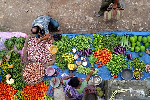 Bird's-eye view of a colorful market