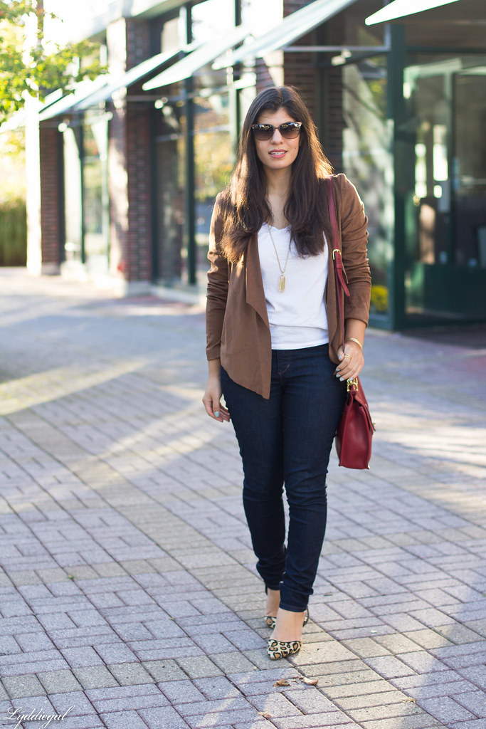 brown suede jacket, white tee, denim, leopard pumps-1.jpg
