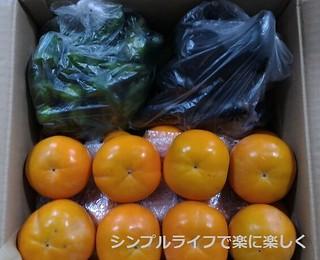 義実家より野菜と柿