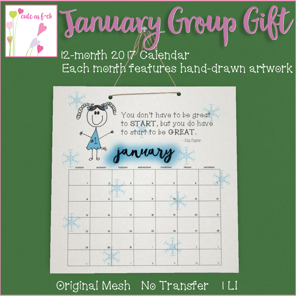January Group Gift - 2017 Calendar with ::cute as f*ck:: Art! - SecondLifeHub.com