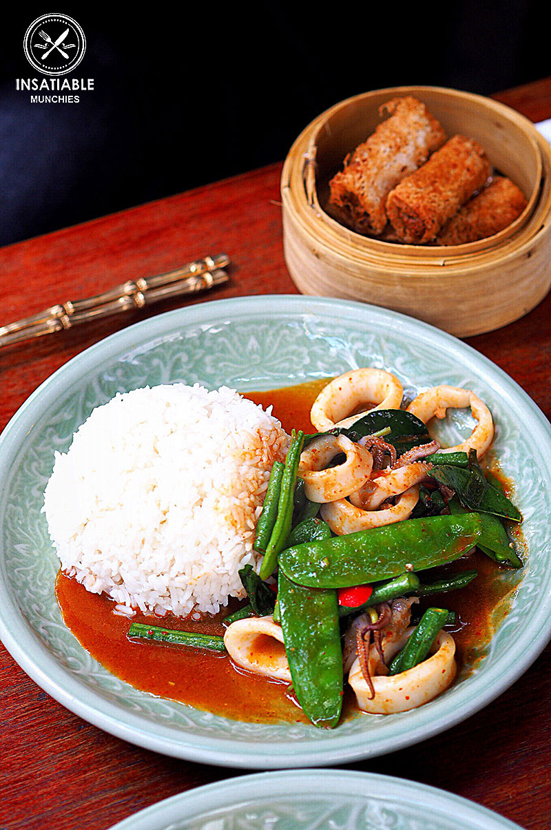 Sydney Food Blog Review of Muum Maam, Surry Hills: wok-fried calamari, snake bean, snow peas & kafir lime leaves with red chili paste, $15