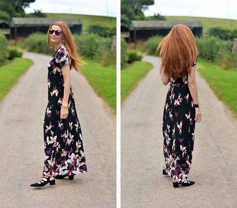 Butterfly print maxi dress, black lace-up shoes