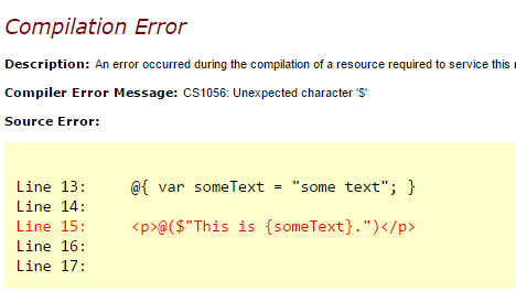 Interpolated String Runtime Error in ASP.NET MVC 5