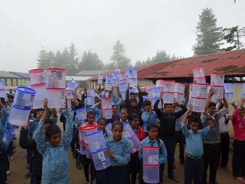 students with water filters