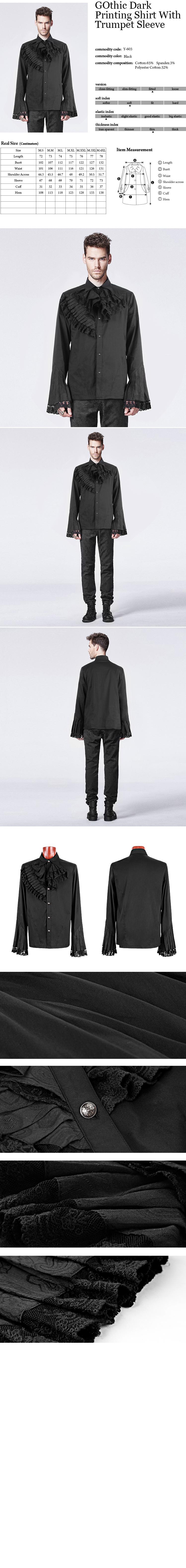 Goth aristocrat imperial Louis gilded crest lantern sleeve dress shirt【SHT02301】