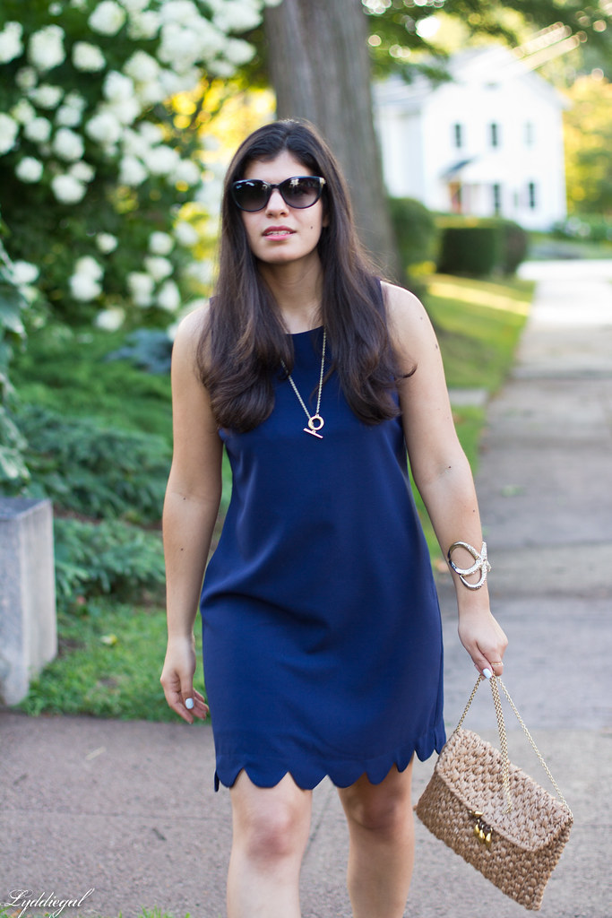 Navy scalloped hem shift dress, starfish cuff-2.jpg