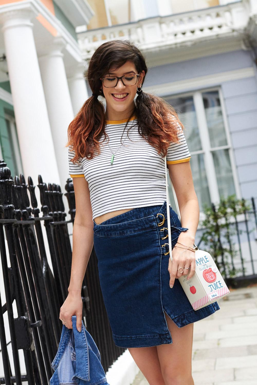 stripe t-shirt and denim wrap skirt asos