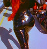 Shania Twain in patent leather jeans