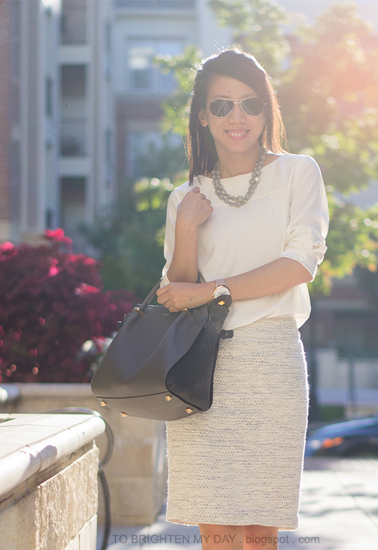 gray silk wrapped pearl necklace, white faux leather top, tweed skirt, oversized watch