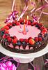 Homemade delicious raspberry cheesecake for little girl