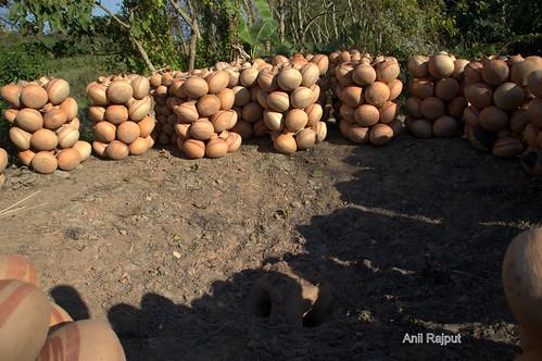 Fire Baked earthen pots near the fire klin , Majuli Island