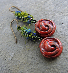 Red Raku Earrings