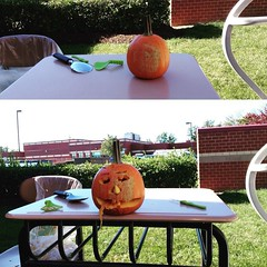 #beforeandafter #pumpkin carving at school today. Middle school has its perks! In it to win it.