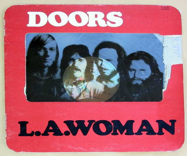"DOORS LA L.A. WOMAN FRANCE RARE SEMI-TRANSPARENT ROUNDED CORNERS 12"" LP VINYL"