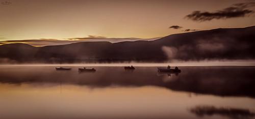 sunset mist lake seascape mountains water fog sunrise reflections landscape boats scotland countryside highlands nikon long exposure sailing scottish an 1750 loch tamron eilean aviemore cairngorms morlich d7000 iainbphoto