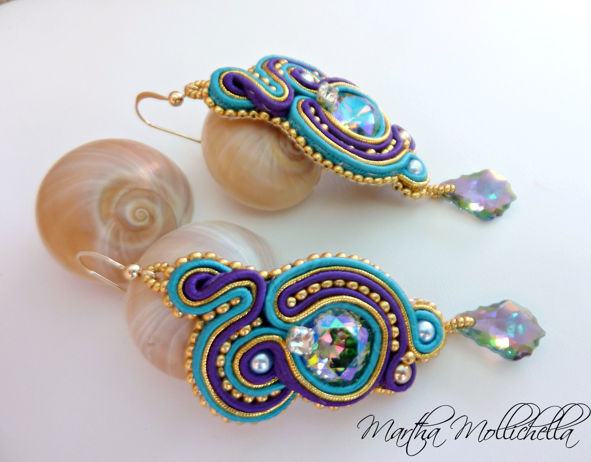 Soutache handmade earrings with Gold 14K Beads and Swarovski Crystals