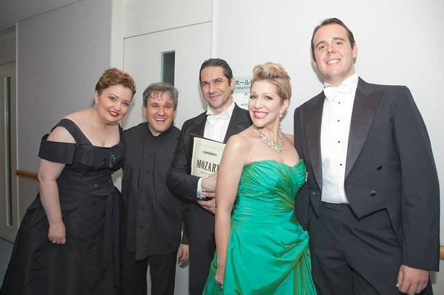Albina Shagimuratova, Antonio Pappano, Ildebrando D'Arcangelo, Joyce DiDonato and Samuel Sakker after a performance of Mozart's Requiem in Japan © ROH, 2015