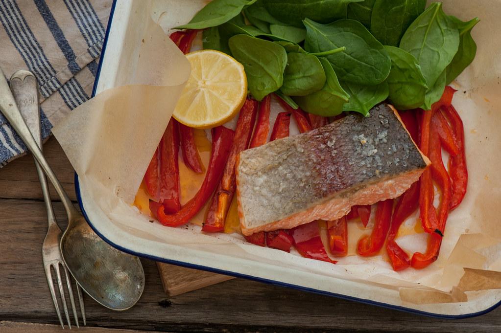 m3. Fast Roast Salmon & Peppers