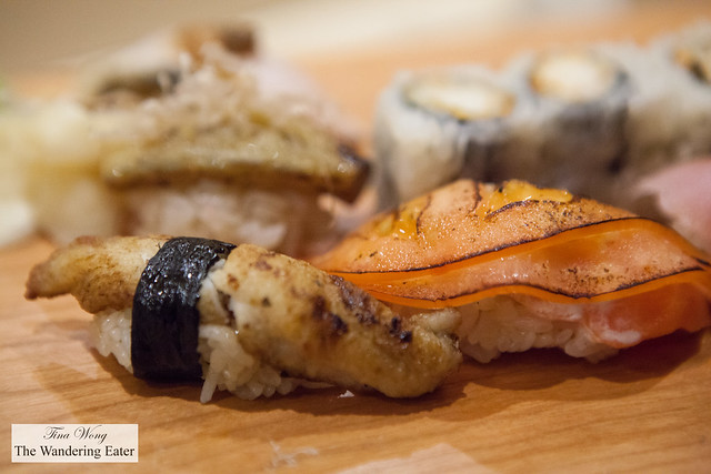 Seared eel sushi, tuna salmon sushi