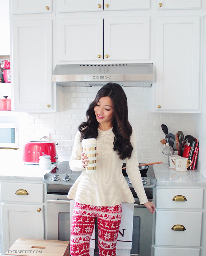 holiday lounge outfit - christmas sweater leggings white kitchen