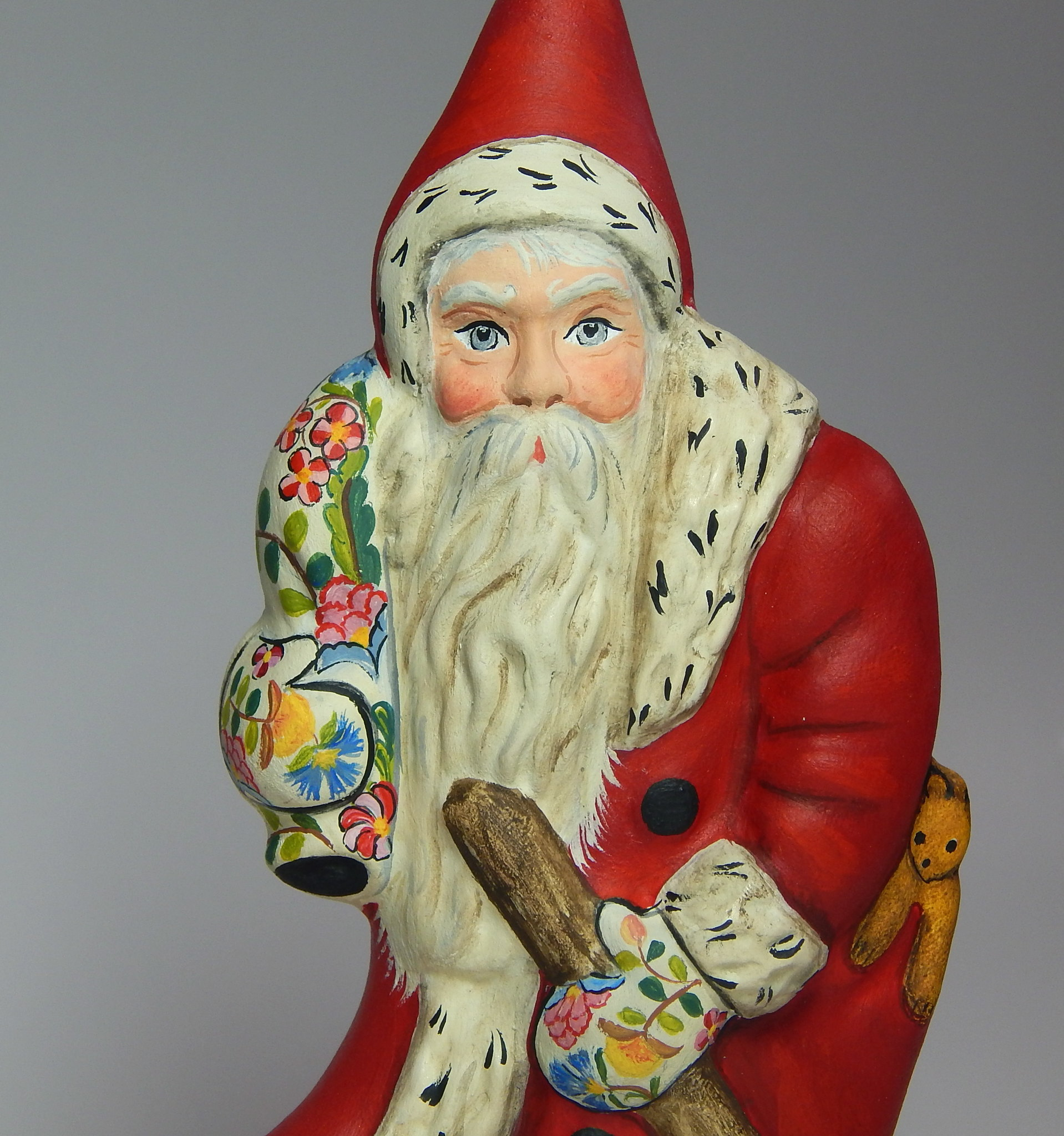 Chalkware Belsnickle Santa with Crewel embroidery
