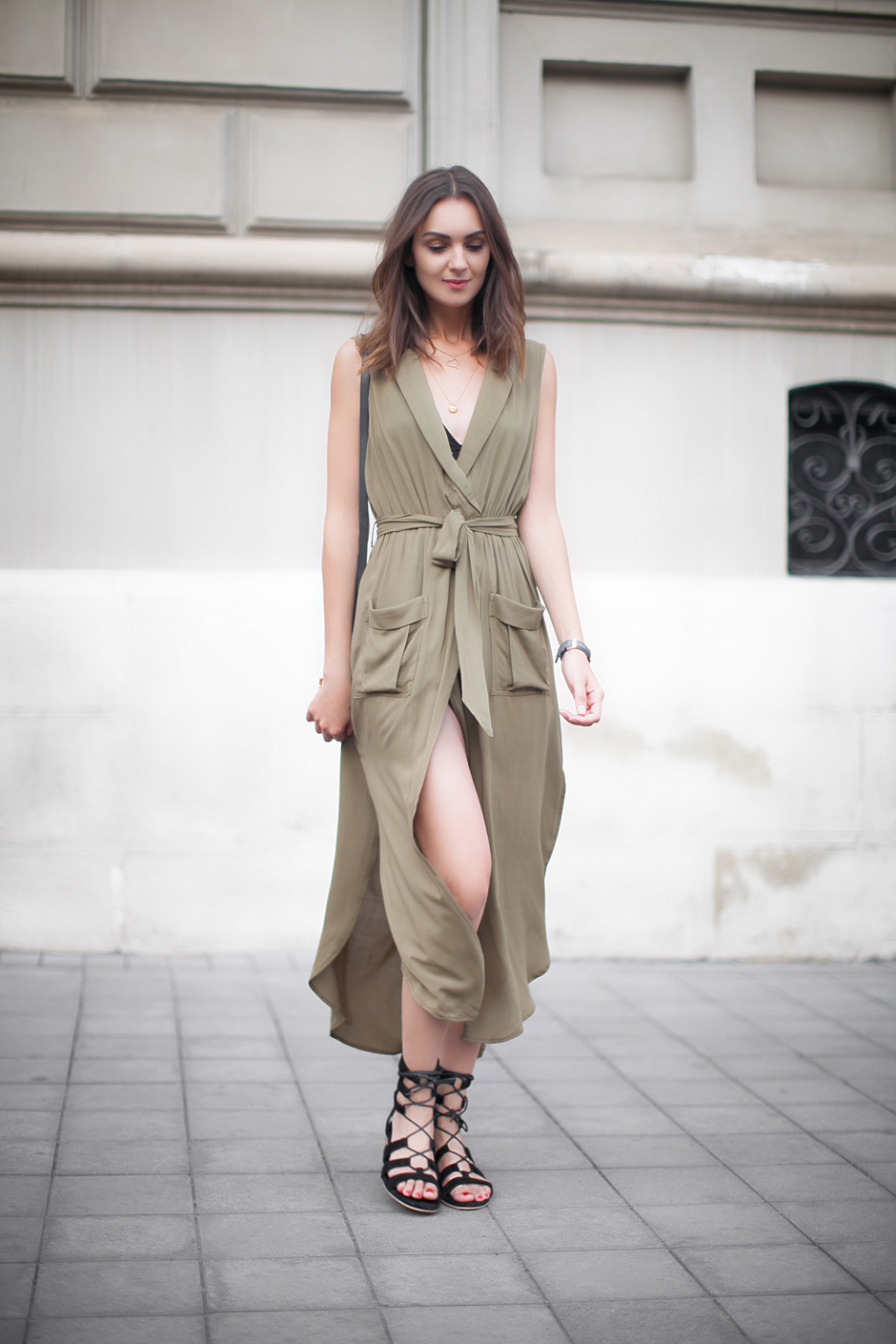 army-green-maxin-dress-black-gladiators-outfit-street-style