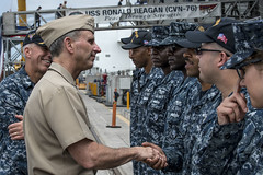 Chief of Naval Operations (CNO) Adm. Jonathan Greenert greets sailors stationed aboard the aircraft carriers USS Ronald Reagan (CVN 76) and USS Carl Vinson (CVN 70). (U.S. Navy/MC3 Ryan McFarlane)