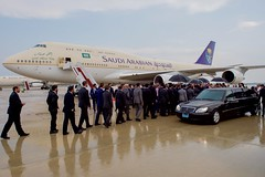 Saudi officials line up to welcome King Salman bin Abdulaziz of Saudi Arabia after he arrived at Andrews Air Force Base in Camp Springs, Maryland, on September 3, 2015, for a visit with President Barack Obama. [State Department photo/ Public Domain]