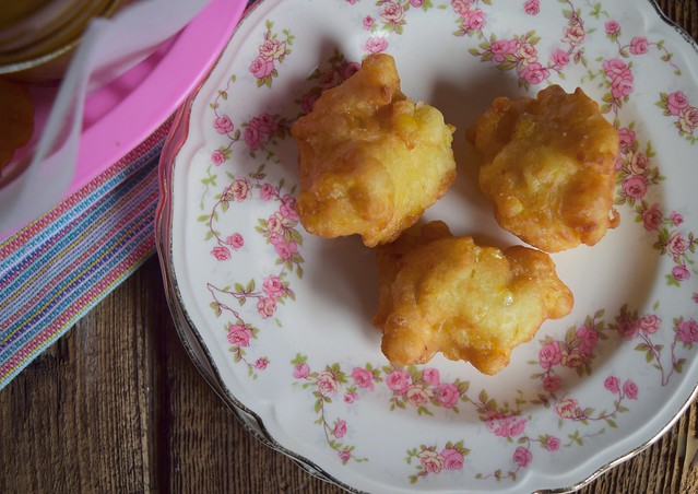 Sweet Corn Fritters with Honey Butter