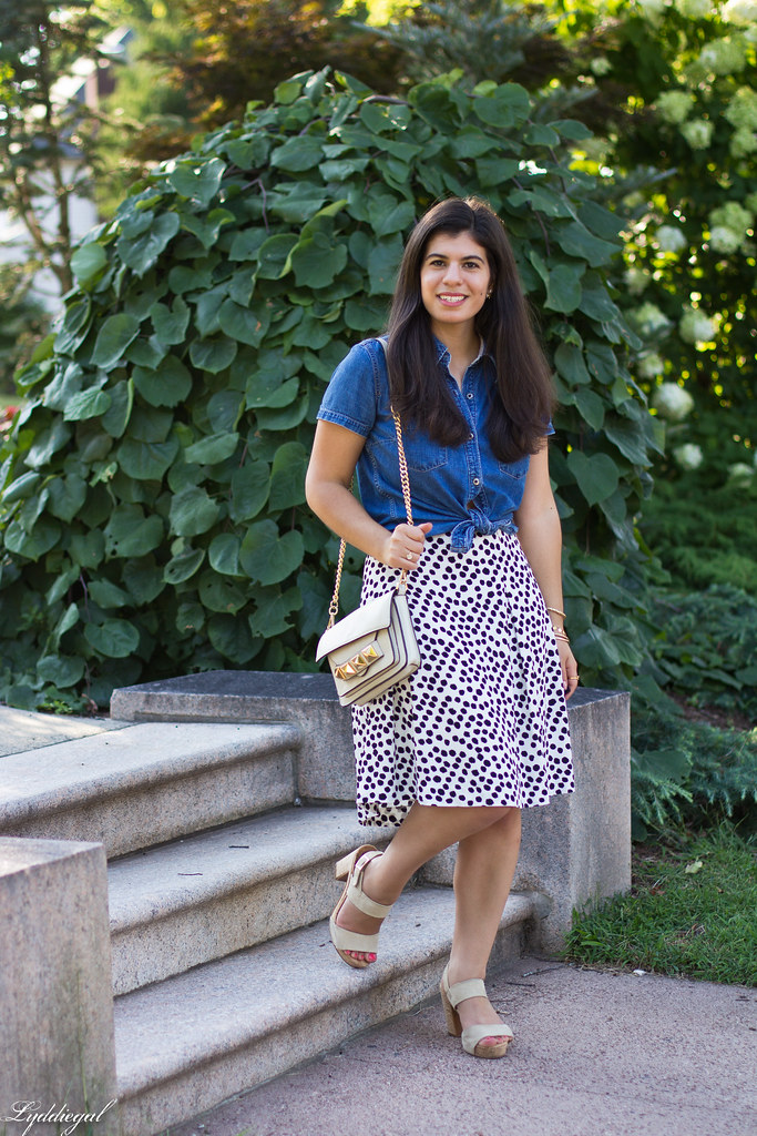 knotted chambray shirt, dalmatian print skirt, linea pelle bag.jpg