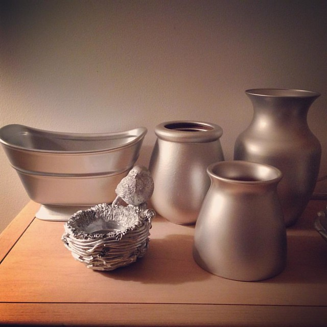 Spray painted a bunch of crap from the thrift store silver. #sofancy