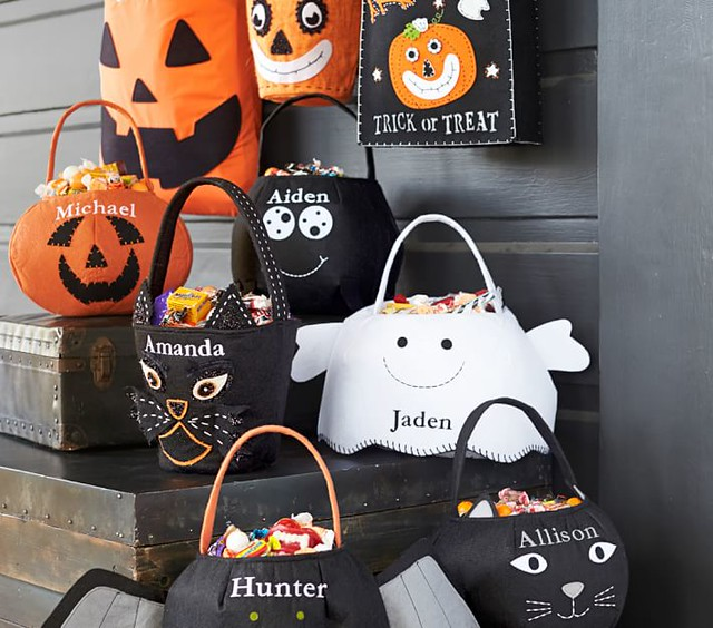 Pumpkin, Spider, Ghost, Black Cat Felt Treat Bags