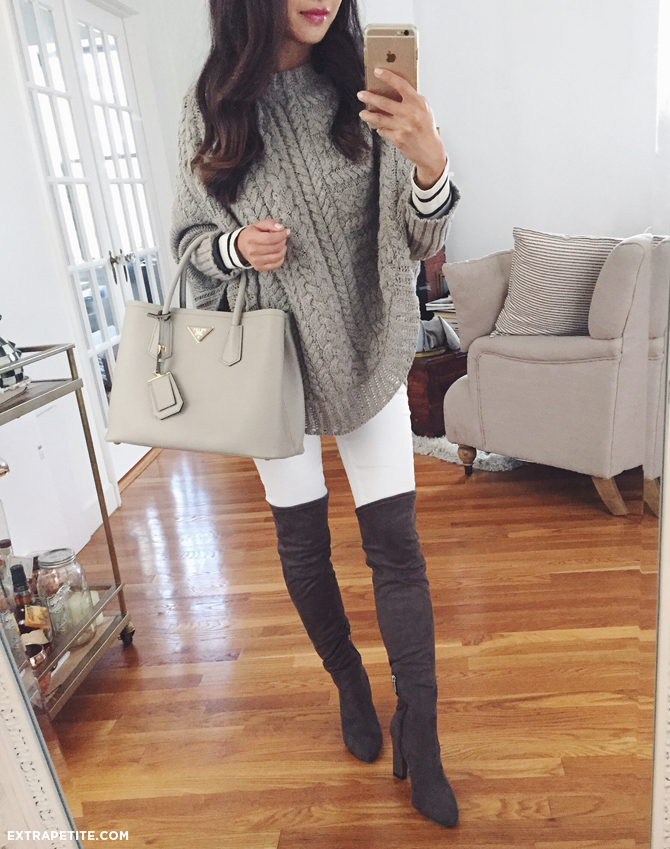 over the knee boots poncho prada gray bag fall outfit