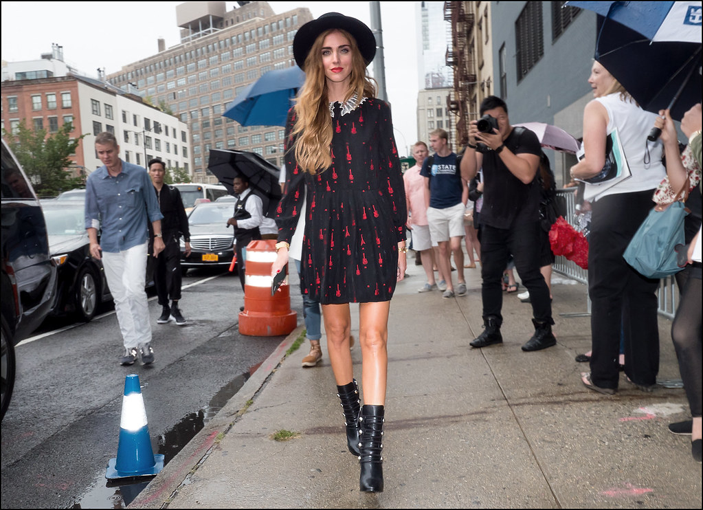 Chiara Ferragni in Givenchy arriving at DVF NY Fashion Week 9-2015