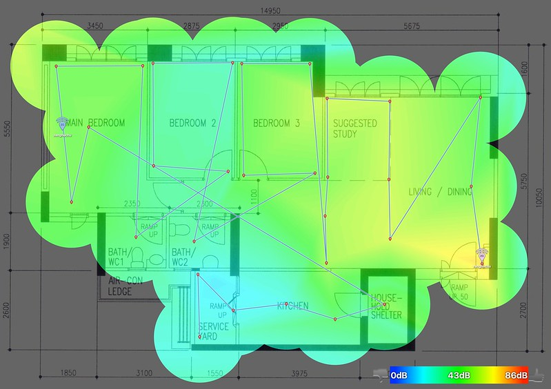 Linksys EA9500 with RE7000 - 2.4GHz - Heatmap