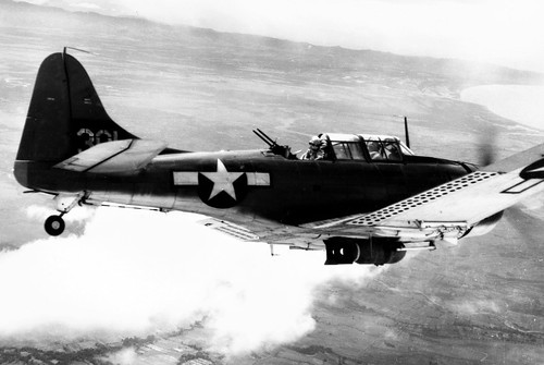 USMC Douglas SBD Dauntless in the flight over Guadalcanal January 1942.