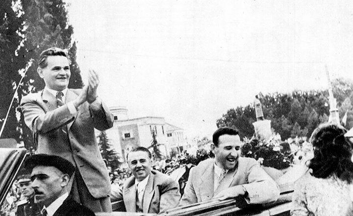 SHESHI SKENDERBEJ, TIRANA, 1958. VILIAM SHIROKI, E. HOXHA, M. SHEHU.