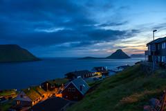 Velbastaður after sunset, the island Koltur in the background, Faroe Islands