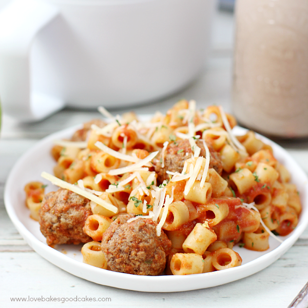 Homemade Spaghetti-O's Recipe on a white plate close up.